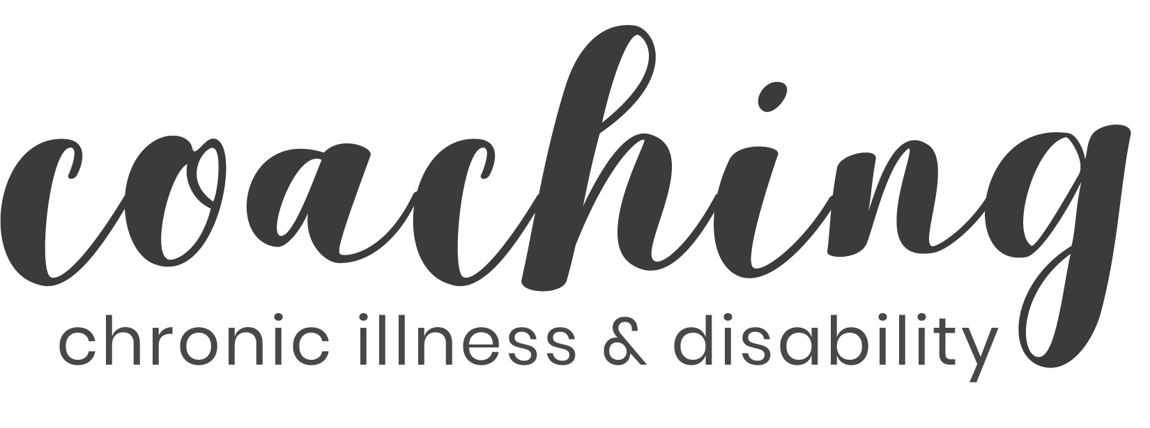 """The word """"coaching"""" in a grey scripted font with the words """"chronic illness and disability"""" underneath"""
