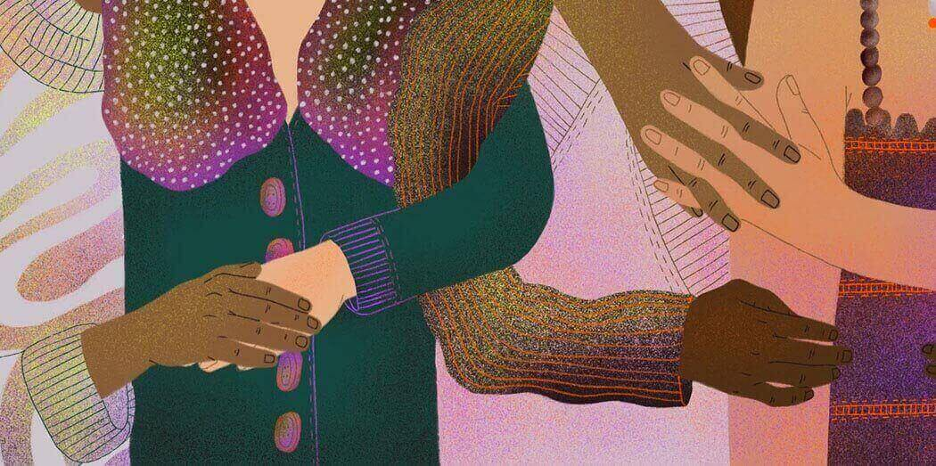 Illustration of multiple people of different races holding hands in overlapping ways