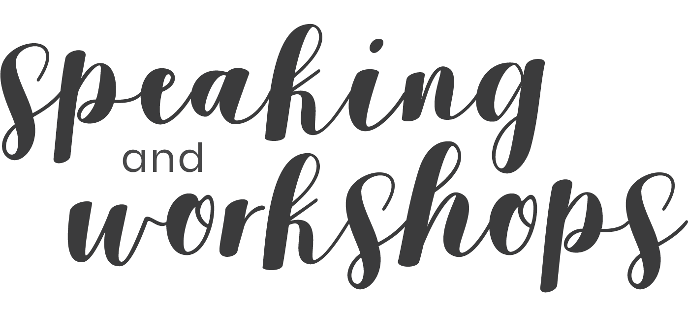 """The words """"speaking & workshops"""" written in a scripted font"""